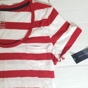*NWT!* TOMMY HILFIGER red & white stripe pocket T
